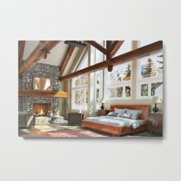 Rustic cabin bedroom Metal Print