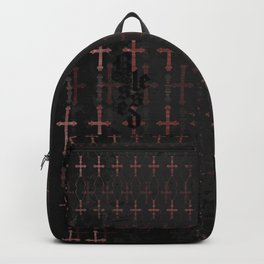 Blessed (typography over red cross pattern) Backpack
