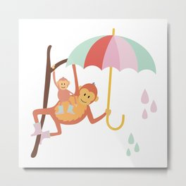 Monkeys in Rain Boots | Navy and Pink Metal Print