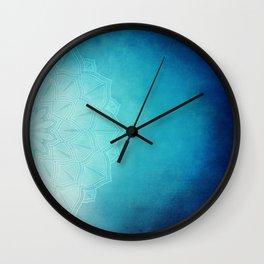 Half Blue Mandala Wall Clock