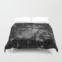 kansas Duvet Covers featuring Kansas City map by Line Line Lines