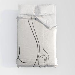 Booty & Wine o'clock Drawing - Curvy Line Art Comforters
