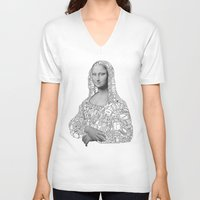 mona lisa V-neck T-shirts featuring Mona Lisa by nice to meet you
