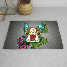 Boston Terrier in Red - Day of the Dead Sugar Skull Dog Rug
