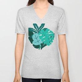 Contemporary Palm Leaves Graphic Design Unisex V-Neck