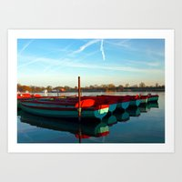 rowing Art Prints featuring Rowing skips by Doug McRae