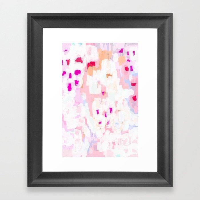 Netta - abstract painting pink pastel bright happy modern home office dorm college decor Gerahmter Kunstdruck