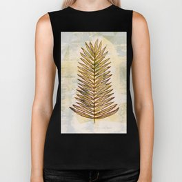 Palm Frond Leaf Abstract Geometric Polygon Watercolor Painting of Tropical Leave Biker Tank