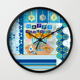 happy hanukkah collage Wall Clock
