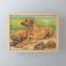 Rhodesian Ridgeback Dog portrait in scenic landscape Painting Framed Mini Art Print