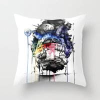 calcifer Throw Pillows featuring Howl's Moving Castle by Sandra Ink