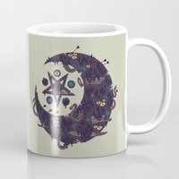 pentagram Mugs featuring The Dark Moon Compels You to Fuck Shit Up by Hector Mansilla