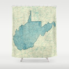 West Virginia State Map Blue Vintage Shower Curtain
