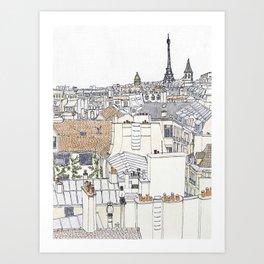 Pen + Ink Paris Rooftops Art Print