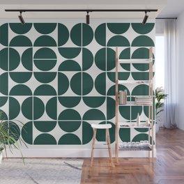 Mid Century Modern Geometric 04 Dark Green Wall Mural