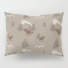 Moose and Mountains Pattern Pillow Sham