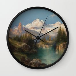 Snow-capped Rocky Mountains landscape painting by Thomas Moran Wall Clock