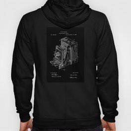 Vintage Camera Patent - White on Black Hoody