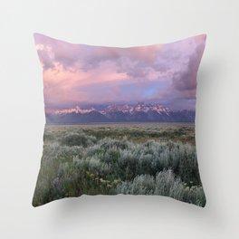 Teton Range Sunrise Throw Pillow