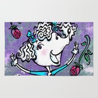 poodle Area & Throw Rugs featuring Prancing Poodle by Alicia Templin