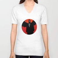 castiel V-neck T-shirts featuring Castiel by Duke Dastardly