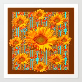 Coffee Brown Sunflower Pattern Orange & Turquoise Art Print