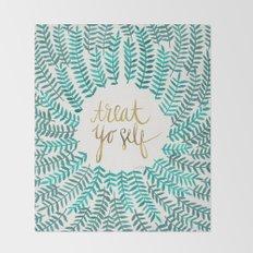 Treat Yo Self – Gold & Turquoise Throw Blanket