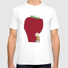 strawberry White Mens Fitted Tee MEDIUM