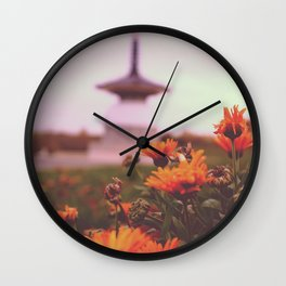Japan Temple Flowers Wall Clock