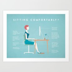 Retro Office Safety Poster Art Print