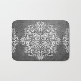 Mandala Vintage White on Ocean Fog Gray Bath Mat