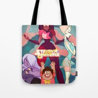 steven universe Tote Bags featuring Steven Universe by Merunyaa (Meru)