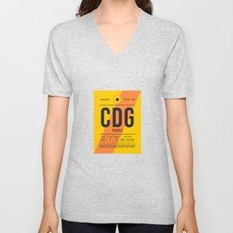 Baggage Tag E - CDG Paris Charles De Gaulle France Unisex V-Neck