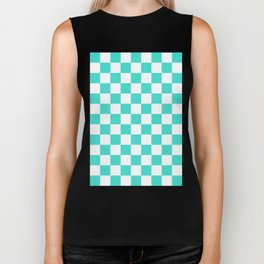Checker (Turquoise/White) Biker Tank