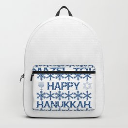Happy Hanukkah Mazel Tov Wishes, Star of David, Menorah and Snowflakes Backpack