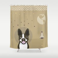 boston terrier Shower Curtains featuring boston terrier by My Studio