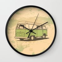 vw bus Wall Clocks featuring VW Bus by QRS Patterns