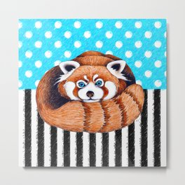 Cute Red Panda Polka Dot Metal Print