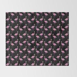 Pink Flamingos Pattern & Black Throw Blanket