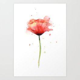 Red Poppy Watercolor Flower Floral Art Print