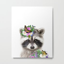 Baby Raccoon With Flower Crown 2, Baby Animals Art Print By Synplus Metal Print
