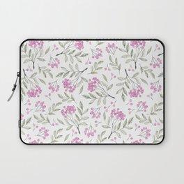 Modern pastel pink green watercolor berries floral Laptop Sleeve