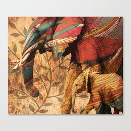 African Patterned Elephants Canvas Print