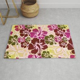 Hawaiian Hibiscus Pattern Rug