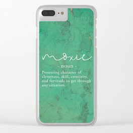 Moxie Definition - White on Green Texture Clear iPhone Case