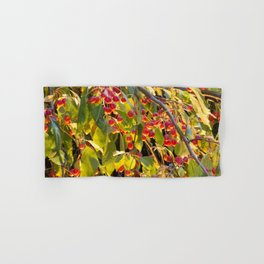 Bright red berries on a tree Hand & Bath Towel
