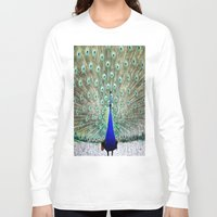 peacock Long Sleeve T-shirts featuring Peacock by Whimsy Romance & Fun