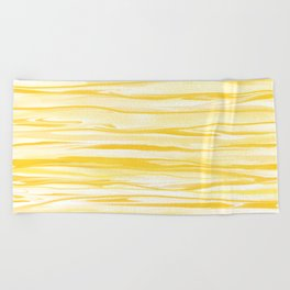 Milk and Honey Yellow Stripes Abstract Beach Towel