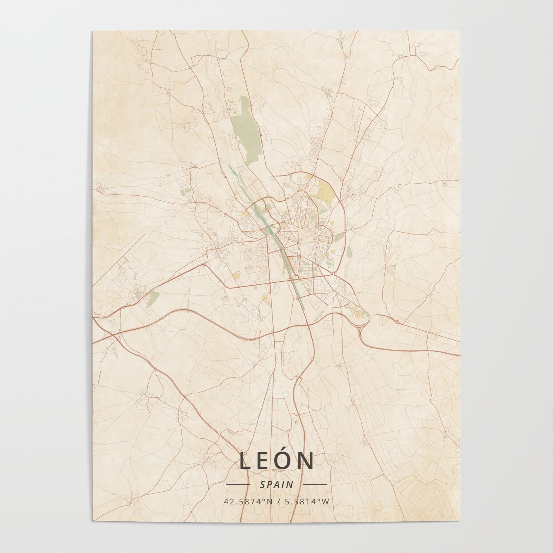 Map Of Spain Leon.Leon Spain Vintage Map Poster By Designermapart
