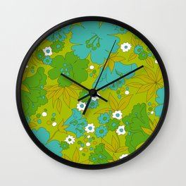 Green, Turquoise, and White Retro Flower Design Pattern Wall Clock